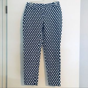 White & blue pattern pants
